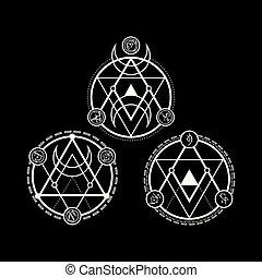 symboles, ligne, triangle