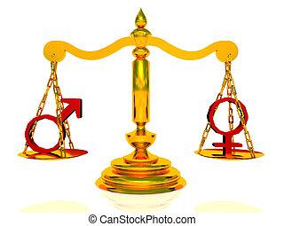 symboles, mâle, femme, balances