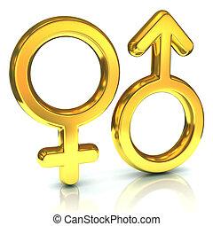 symboles, mâle sexe, femme, doré