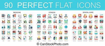 symboles, médecine, dentaire, vecteur, infographic, 180, sport, design., complexe, icônes, plat, care., toile, icône, concept, fitness