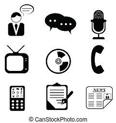 symboles, média, icônes