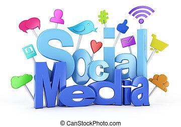 symboles, média, social