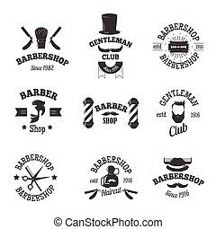 symboles, magasins, vecteur, coiffeur, set.