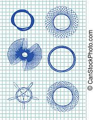 symboles, main, dessiné, cercle