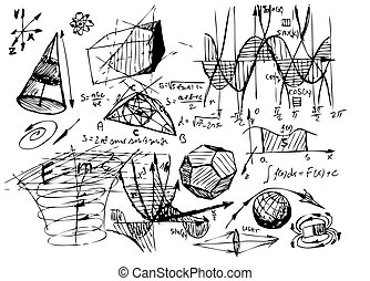 symboles, main, dessiné, math