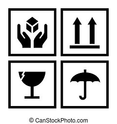 symboles, maniement, illustration, paquet