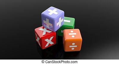symboles, math, rendre, cubes, 3d