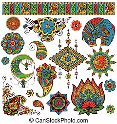 symboles, mettez stylique, indien