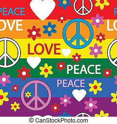 symboles, modèle, hippie, seamless