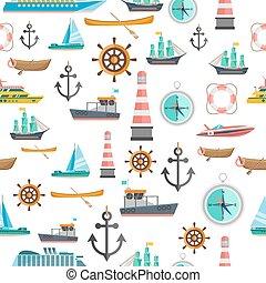 symboles, modèle, seamless, vendange, nautique