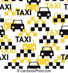 symboles, modèle, taxi., seamless, vecteur