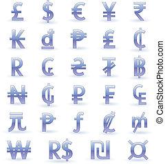 symboles monétaires, de, monde