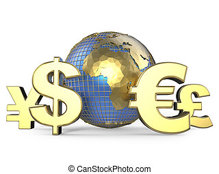 symboles, monnaie, globe, or
