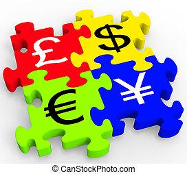 symboles, monnaie, puzzle, forex, projection