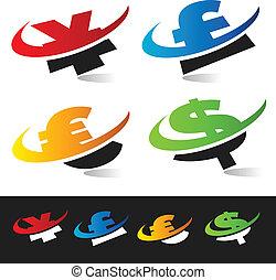 symboles, monnaie, swoosh