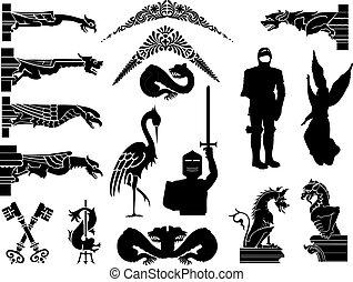 symboles, moyen-âge, icônes