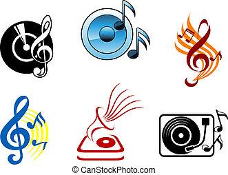 symboles, musical, icônes