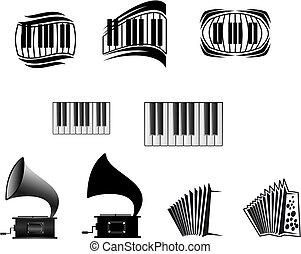 symboles, musique, icônes