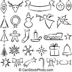 symboles, noël, icônes