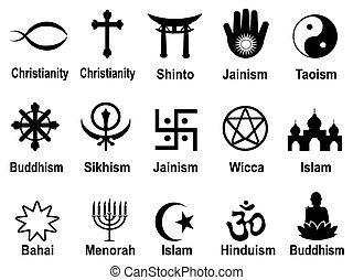 symboles, noir, ensemble, icônes religieuses
