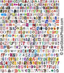 symboles, nombres, 516, lettres, alphabet