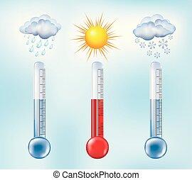 symboles, nuages, température, soleil, thermomètre, -, pluie, snow., arrière-plan., forecast., vecteur, illustration, mesure, temps, ciel, 3d