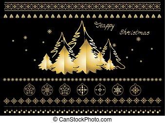 symboles, or, flocons neige, arbres, noir, salutations, fond, frontières, noël