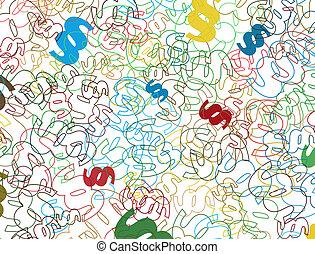 symboles, paragraphe, fond, coloré