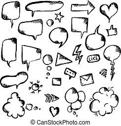 symboles, parole, ensemble, bulle