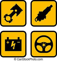 symboles, partie voiture, vecteur