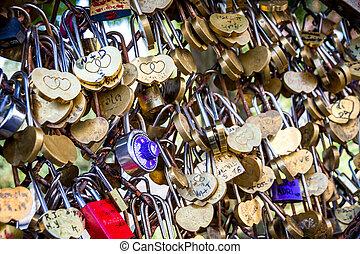symboles, pendre, barrière, amour, cadenas