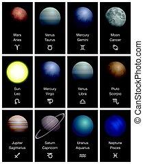 Symboles, planètes, signes, zodiaque, astromomie, astrologie
