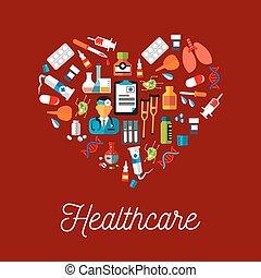 symboles, plat, forme, healthcare, coeur