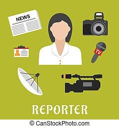symboles, plat, journaliste, profession, icônes