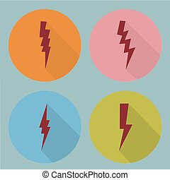 symboles, plat, set., éclair