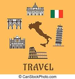 symboles, plat, voyage, italie, icônes