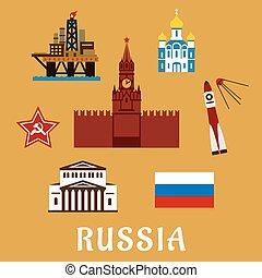 symboles, plat, voyage, russe, icônes