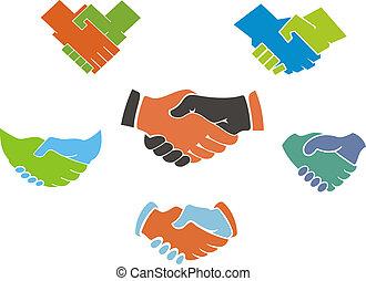 symboles, poignée main, icones affaires