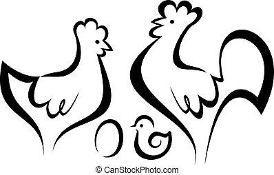 symboles, poulet, ensemble