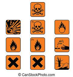 symboles, produits chimiques, ensemble, danger