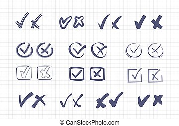 symboles, public, referendums, mandatory, poll, mal, politique, vector., set., marques, droit, vote, croix, formulaire, positif, chèque, réponse, économique, choisir, variable, négatif, options., général