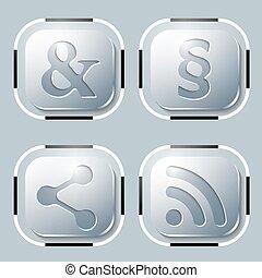 symboles, quatre, différent, ensemble, icône