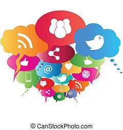 symboles, réseau, social