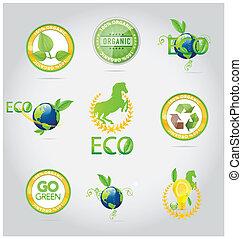 symboles, résumé, ensemble, emblèmes, nature