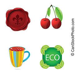 symboles, résumé, ensemble, nature