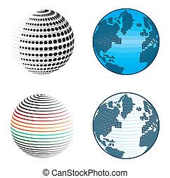 symboles, résumé, globe, icônes