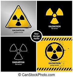 symboles, radiation, avertissement, ensemble