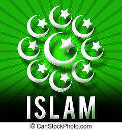 symboles, rayons, soleil, islam, vert
