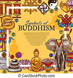 symboles, religion, bouddhisme, vecteur, affiche