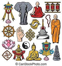 symboles, religion, bouddhisme, vecteur, isolé